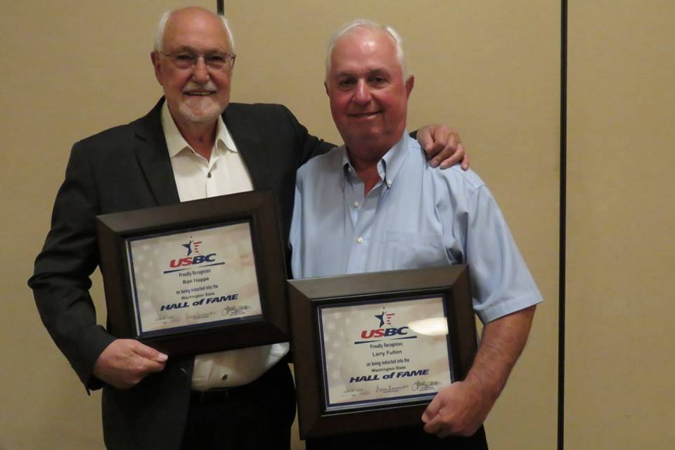 Ron Hoppe, pictured with Larry Fulton, were both inducted into the Washington State USBC Hall of Fame.